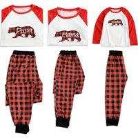 Family Bear Printed Long-sleeve and Plaid Pants Christmas Pajamas Set