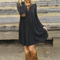 A-line Solid Color Elbow Patches Above Knee V-neck Long-sleeve Dress