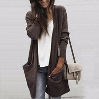 Causal Solid Long-sleeve Cardigan for Women