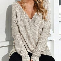 Stylish Front Crossover Solid Knitted Long-sleeve for Women