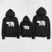Family Matching Bear Printed Hoodies in Black