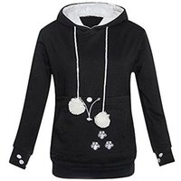 Women's Solid Pocket Long Sleeve Hoodies