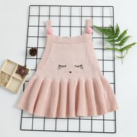 Lovely Pompom Embroidery Eyelash Sweater Dress with Straps for Baby and Kid