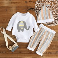 3-piece Adorable Elephant Print Long-sleeve Romper Striped Pants and Hat Set for Baby