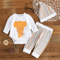 3-piece Strong Elephant Print Long-sleeve Romper Striped Pants and Hat Set