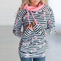 Fashionable Striped Floral Print Hooded Long-sleeve Pullover