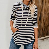 Causal Striped Button Hooded Long-sleeve Top for Women
