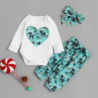3-piece Elk Print Love Patterned Long-sleeve Romper, Pants and Headband Set for Baby Girl