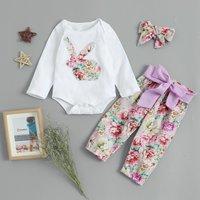 (Only 1 Left for 12-18M)Floral Rabbit Applique Bodysuit Set