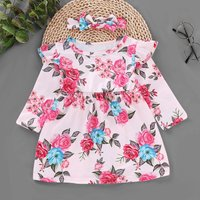 Round Collar Floral Pink Dress with Headband