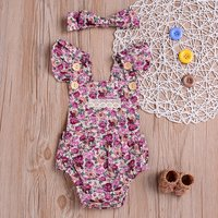 2 Pcs Ruffled Backless Floral Romper with Headband