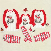 Red Scarf Bear Long Sleeves Top and Pants Lounge Set for Family Matching