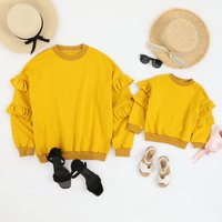 Solid Ruffle Long Sleeves Pullover for Mommy and Me