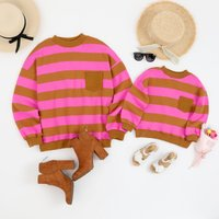 Soft Striped Long Sleeves Pullover for Mommy and Me