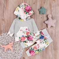 2 Pcs Long Sleeve Floral Hooded Top and Pants Set