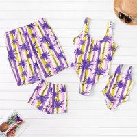 Colorful Stripes Purple Leaf Family Swimsuits