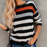 Color block Striped Round Neck  Long-sleeve Shirt