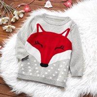Toddler Fox Sweater in Grey