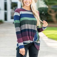 Fashionable Color block Striped Long-sleeve For women