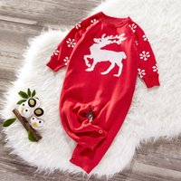 Baby Christmas Deer Knitted Jumpsuit
