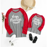 'Merry Christmas' Contrast Long-sleeve Top for Mom and Me