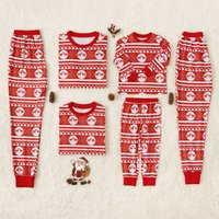 Adorable Red Christmas Deer Printed Family Matching Pajamas