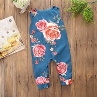 Rose Print Sleeveless Jumpsuit for Baby
