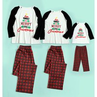 'Merry' Letters Long Sleeves Top and Plaid Pants Family Matching Pajamas Set