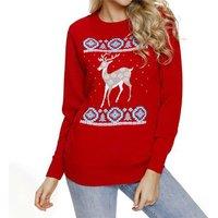 Reindeer Printed Christmas Long-sleeve Top for Women