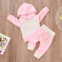 2 Pcs Color Blocked Hooded Pink Top and Pants Set