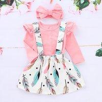 Ruffle Top Feather Print Suspender Skirt and Headband Set