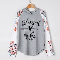 Women's Floral Printed Hooded Long Sleeve T-shirt