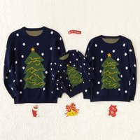 Night Christmas Tree Family Cotton Knit Sweaters