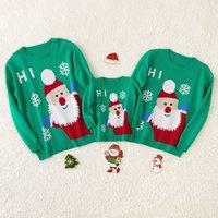 Hi Santa Family Cotton Knit Sweaters