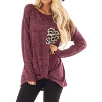 Trendy Leopard Print Pocket Applique Long-sleeve Top [