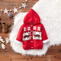Christmas Plush Lined Knit Hooded Cardigan
