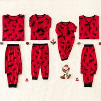 Allover Deer Printed Family Matching Christmas Pajamas in Red