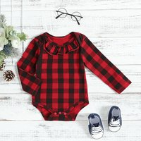Ruffled Collar Checkered Bodysuit