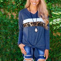 Stylish Leopard and White Splice Casual Tee For women