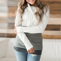 Color Block Loose Long-sleeve Top