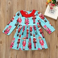 Christmas King Pattern Ruffle Dress