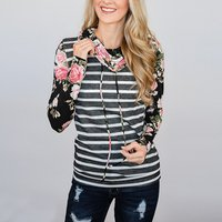 Fashionable Striped Floral Print Splice Long-sleeve Pullover