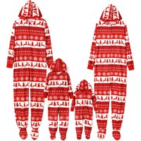 Christmas Reindeer Snowflake Pattern  Hooded Family Matching Pajamas Set