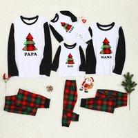 Merry Christmas Tree Print Plaid Design Family Pajama Set