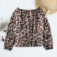 Stylish Leopard Long Sleeves Batwing Top