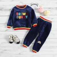 Brown Bunny Fleece Top and Pants Set