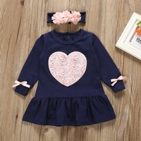 Rose Heart Appliqued Navy Dress with Headband