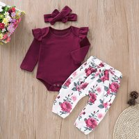 Ruffle Crimson Romper and Floral Pants with Headband