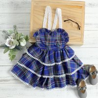 Ruffle Plaid Dress with Lace Straps