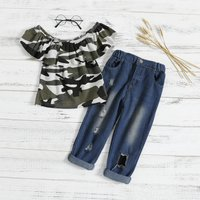 Off The Shoulder Camouflage Top and Jeans Set